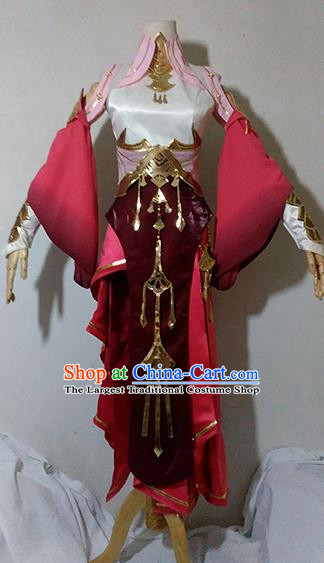 Chinese Traditional Cosplay Knight Costume Ancient Fairy Swordsman Wine Red Dress for Women