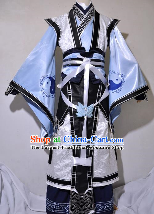 Chinese Traditional Cosplay Taoist Priest Young Knight Costume Ancient Swordsman Hanfu Clothing for Men