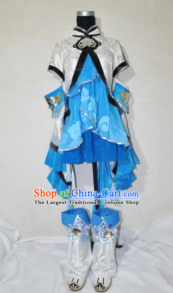 Top Grade Cosplay Fairy Witch Costume Ancient Female Swordsman Dress for Women
