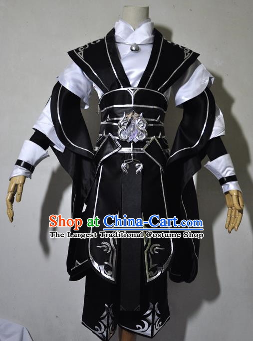 Chinese Traditional Cosplay Young Knight Black Costume Ancient Swordsman Hanfu Clothing for Men