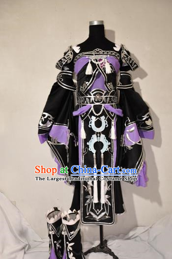 Chinese Traditional Cosplay Princess Knight Purple Costume Ancient Fairy Swordsman Dress for Women