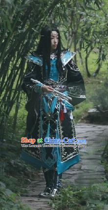 Chinese Traditional Cosplay General Young Knight Blue Costume Ancient Swordsman Hanfu Clothing for Men
