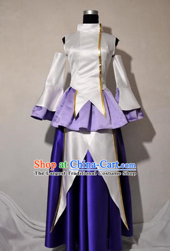 Top Grade Cosplay Young Lady Costume Ancient Female Swordsman White Dress for Women