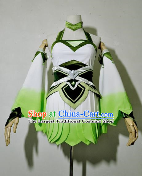 Top Grade Cosplay Young Lady Costume Ancient Female Swordsman Green Dress for Women