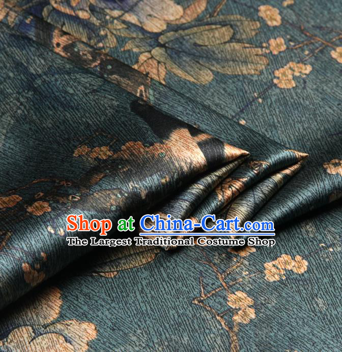 Chinese Traditional Classical Peony Plum Pattern Deep Green Brocade Damask Asian Satin Drapery Silk Fabric