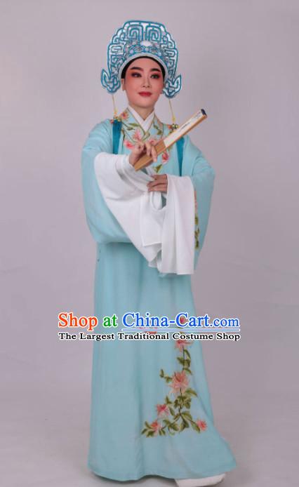 Chinese Traditional Beijing Opera Niche Nobility Childe Embroidered Blue Robe Ancient Scholar Costume for Men