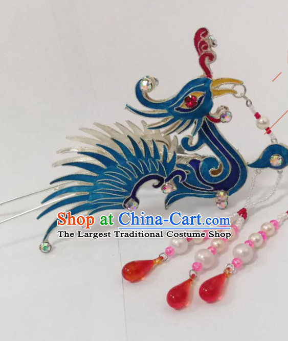Chinese Traditional Beijing Opera Diva Hair Accessories Ancient Queen Blue Phoenix Hairpins for Women