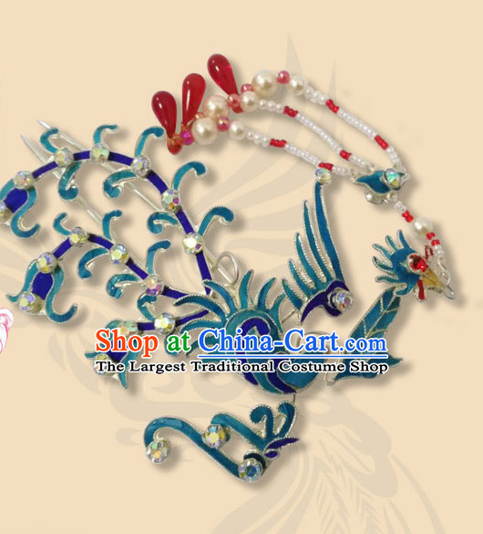 Chinese Traditional Beijing Opera Hair Accessories Ancient Queen Pearls Tassel Phoenix Hairpins for Women
