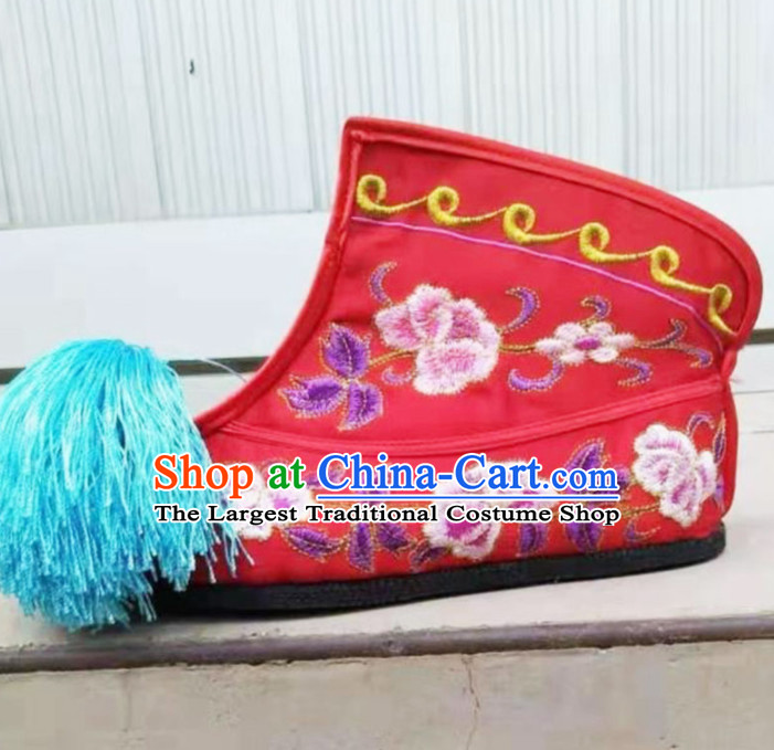 Chinese Traditional Beijing Opera Diva Red Embroidered Boots Ancient Swordswoman Shoes for Women