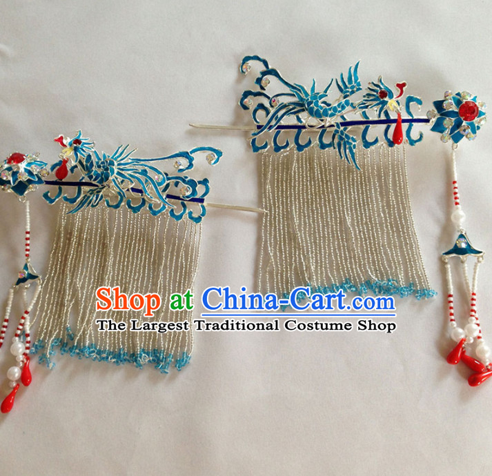 Chinese Ancient Court Princess Phoenix Tassel Hairpins Traditional Beijing Opera Diva Hair Accessories for Adults