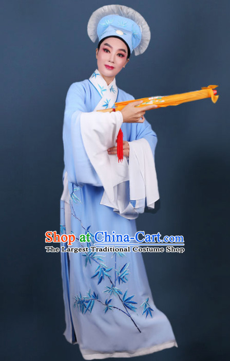 Chinese Traditional Beijing Opera Niche Embroidered Blue Robe Ancient Scholar Nobility Childe Costume for Men
