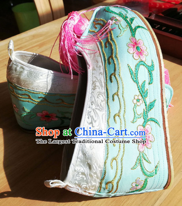 Chinese Ancient Princess Hanfu Green Embroidered Shoes Traditional Beijing Opera Diva Blood Stained Shoes for Adults