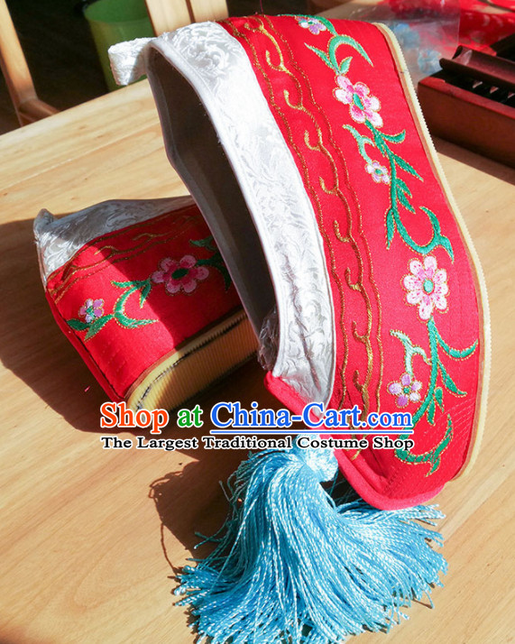 Chinese Ancient Princess Hanfu Red Embroidered Shoes Traditional Beijing Opera Diva Blood Stained Shoes for Adults
