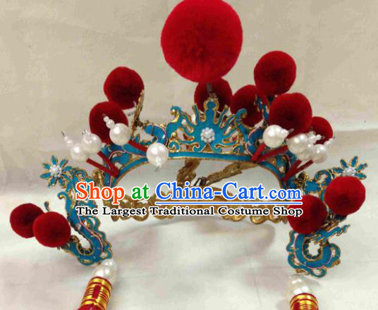 Chinese Ancient General Helmet Traditional Beijing Opera Takefu Hat Hair Accessories for Adults