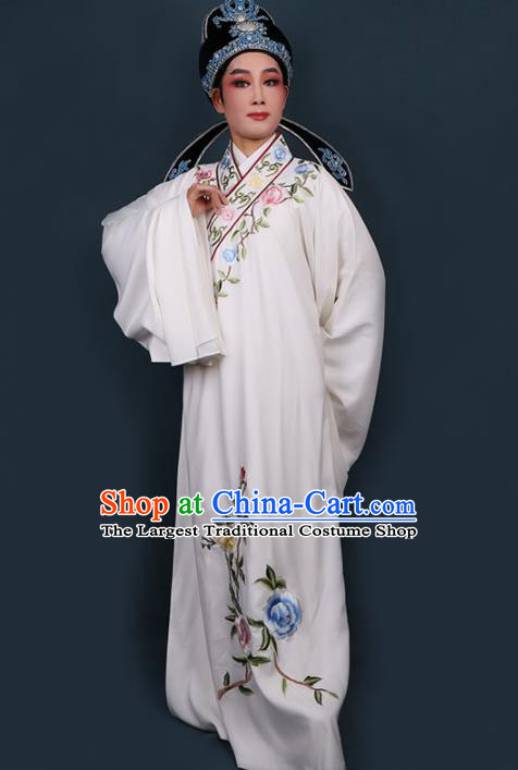 Chinese Traditional Beijing Opera Niche Embroidered White Robe Ancient Scholar Nobility Childe Costume for Men