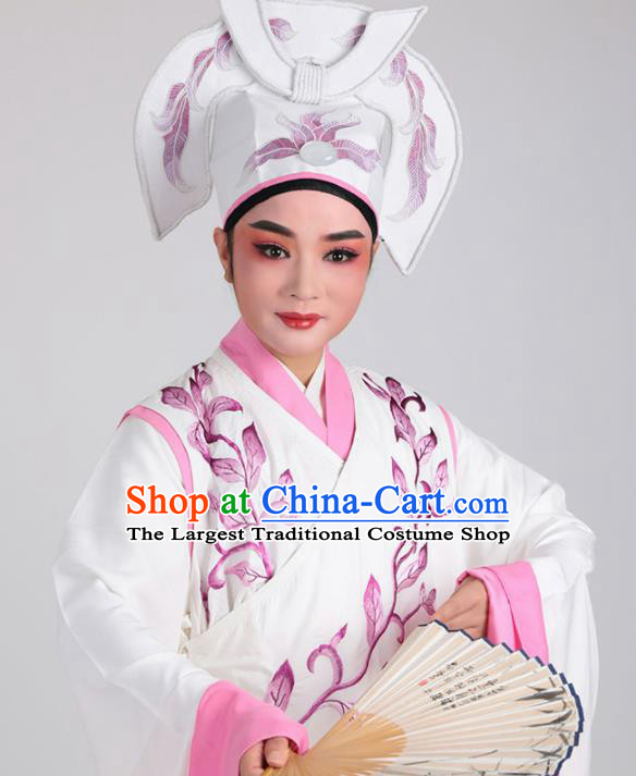 Chinese Traditional Beijing Opera Niche White Robe Ancient Scholar Nobility Childe Embroidered Costume for Men