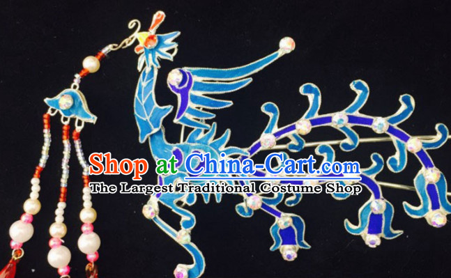 Chinese Ancient Court Princess Blue Phoenix Tassel Hairpins Traditional Beijing Opera Diva Hair Accessories for Adults