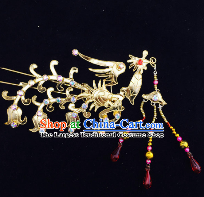 Chinese Ancient Court Princess Golden Phoenix Tassel Hairpins Traditional Beijing Opera Diva Hair Accessories for Adults