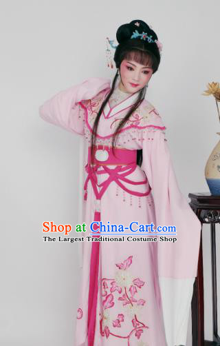 Chinese Traditional Opera Peri Princess Light Pink Dress Ancient Beijing Opera Diva Embroidered Costume for Women