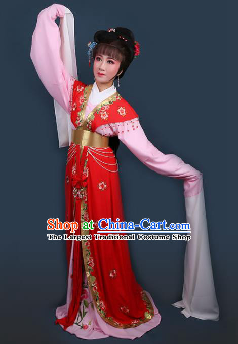 Chinese Traditional Opera Peri Princess Red Dress Ancient Beijing Opera Diva Embroidered Costume for Women
