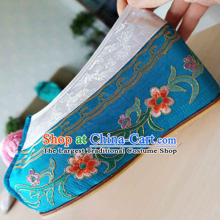 Chinese Ancient Princess Hanfu Embroidered Shoes Traditional Beijing Opera Diva Blue Blood Stained Shoes for Adults
