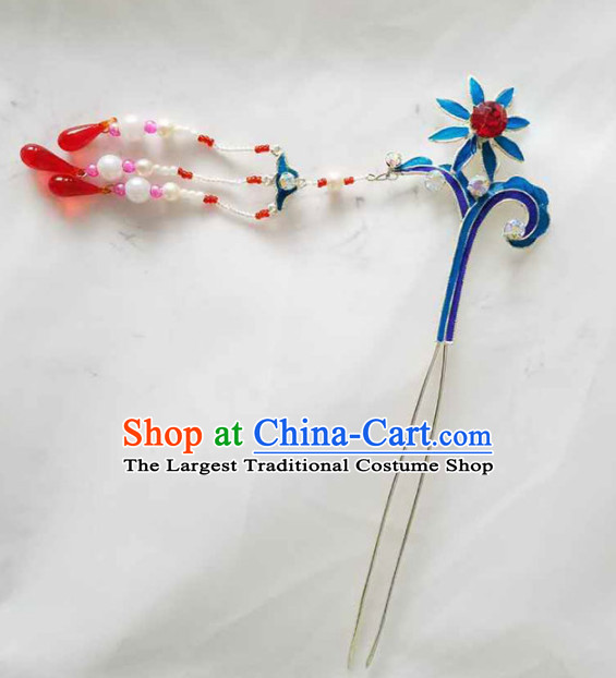 Chinese Ancient Princess Beads Tassel Hairpins Traditional Beijing Opera Diva Court Hair Accessories for Adults