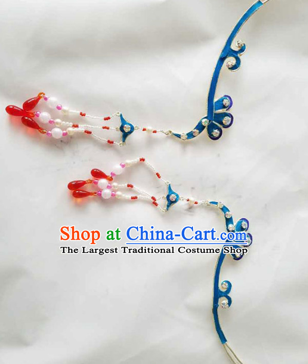Chinese Ancient Princess Tassel Step Shake Hairpins Traditional Beijing Opera Diva Court Hair Accessories for Adults