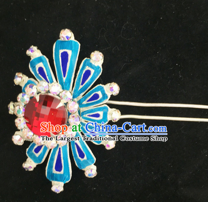Chinese Ancient Princess Red Crystal Hairpins Traditional Beijing Opera Diva Court Hair Accessories for Adults