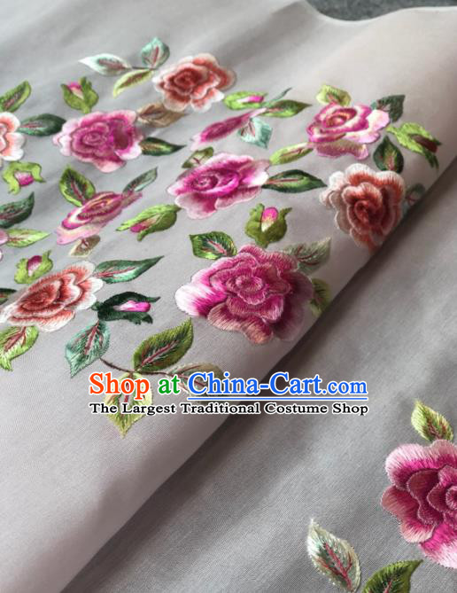 Traditional Chinese Silk Fabric Classical Embroidered Peony Pattern Design White Brocade Fabric Asian Satin Material