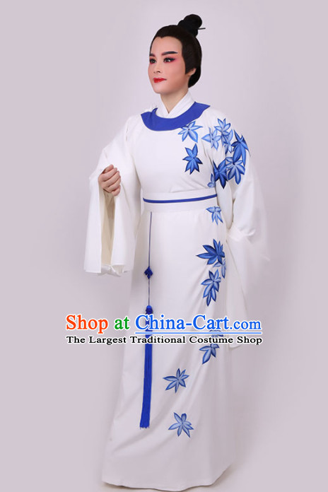 Chinese Traditional Beijing Opera Niche White Robe Ancient Nobility Childe Costume for Men