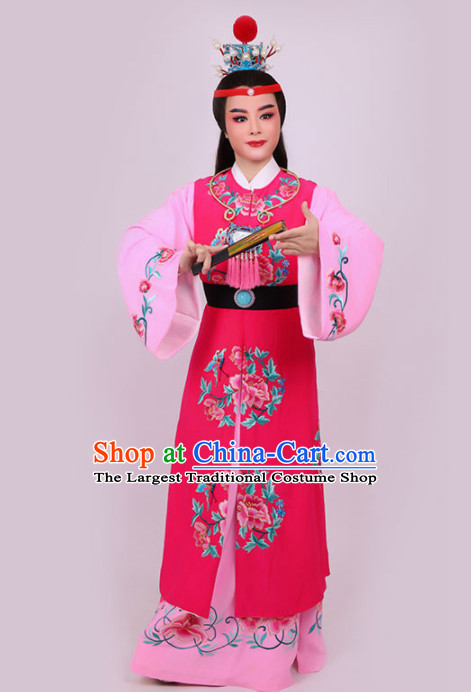 Chinese Traditional Beijing Opera Niche Jia Baoyu Rosy Robe Ancient Nobility Childe Costume for Men