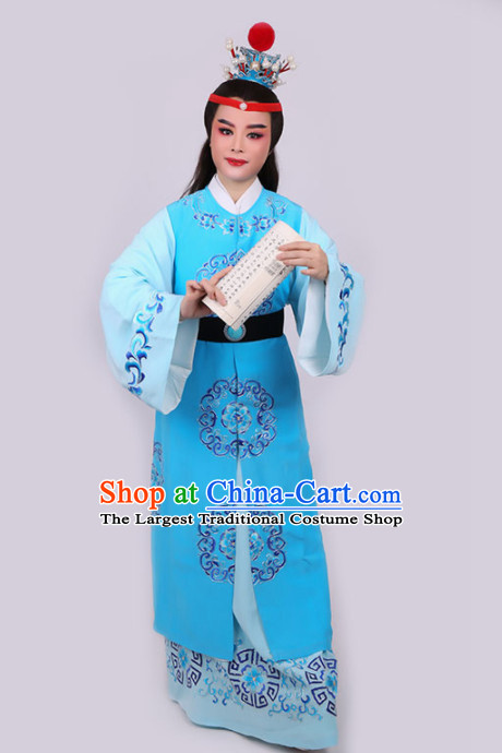 Chinese Traditional Beijing Opera Niche Jia Baoyu Blue Robe Ancient Nobility Childe Costume for Men