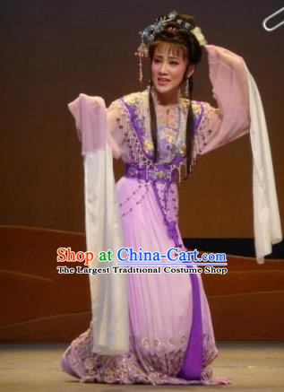 Chinese Traditional Opera Peri Princess Lilac Dress Ancient Beijing Opera Diva Embroidered Costume for Women