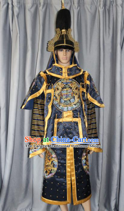 Chinese Traditional Costume Ancient Qing Dynasty Manchu General Helmet and Body Armour for Men