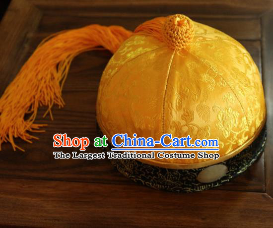 Chinese Ancient Drama Emperor Yellow Hat Traditional Qing Dynasty Manchu Headwear for Men