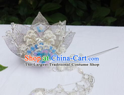 Chinese Ancient Swordsman Leaf Hairdo Crown Tassel Hairpins Traditional Hanfu Hair Accessories for Men