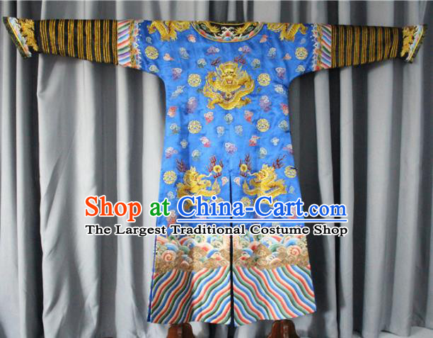 Chinese Traditional Drama Manchu Costume Ancient Qing Dynasty Emperor Blue Imperial Robe for Men