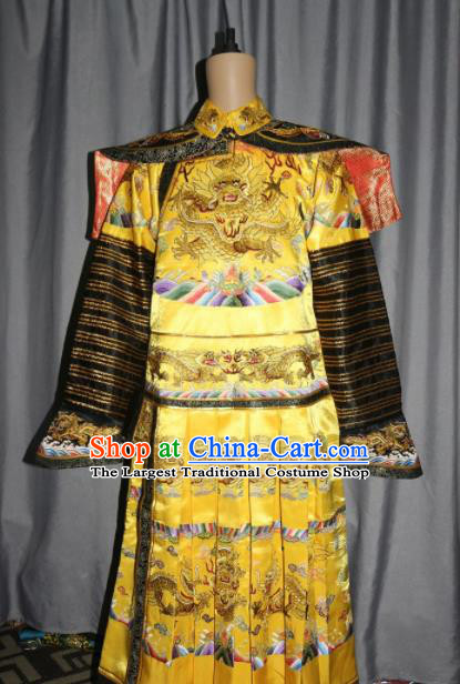 Chinese Traditional Drama Manchu Golden Silk Costume Ancient Qing Dynasty Emperor Imperial Robe for Men