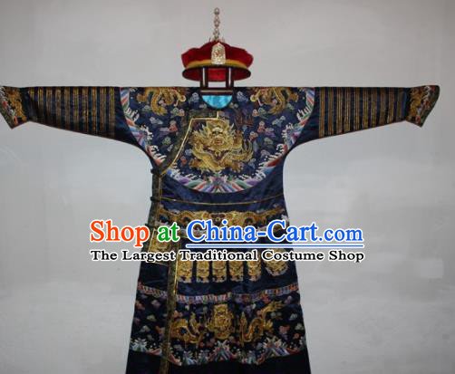 Chinese Traditional Drama Manchu Navy Silk Costume Ancient Qing Dynasty Emperor Imperial Robe for Men