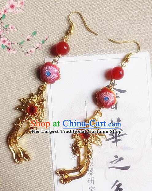 Chinese Ancient Princess Cloisonne Red Earrings Traditional Hanfu Palace Jewelry Accessories for Women