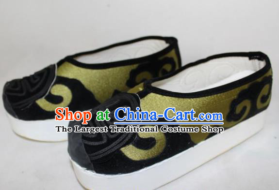 Chinese Ancient Landlord Green Satin Shoes Traditional Beijing Opera Old Male Shoes for Men