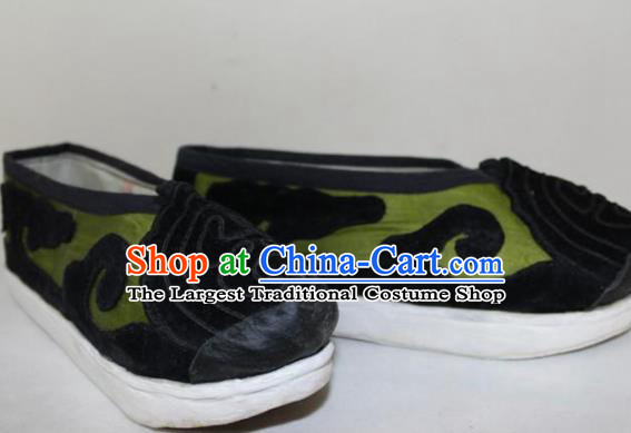Chinese Ancient Landlord Green Cloth Shoes Traditional Beijing Opera Old Male Shoes for Men