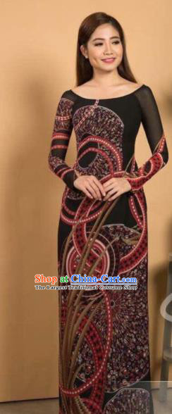 Asian Vietnam Traditional Printing Brown Dress Vietnamese Classical Ao Dai Cheongsam for Women
