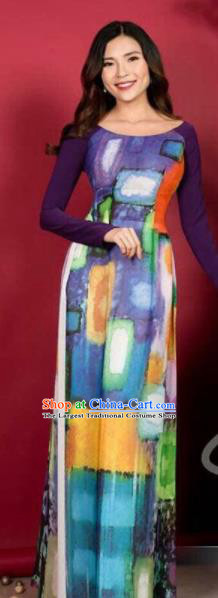 Asian Vietnam Traditional Printing Purple Dress Vietnamese Classical Ao Dai Cheongsam for Women