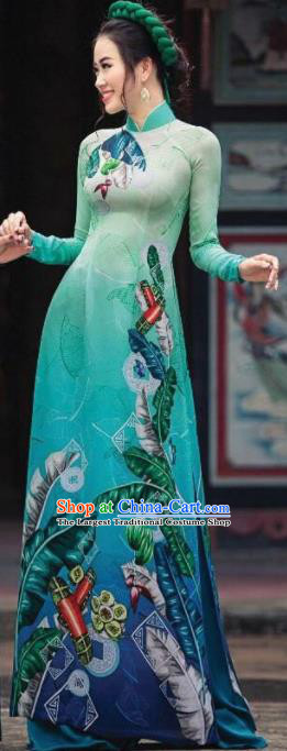 Asian Vietnam Traditional Printing Deep Green Dress Vietnamese Classical Ao Dai Cheongsam for Women