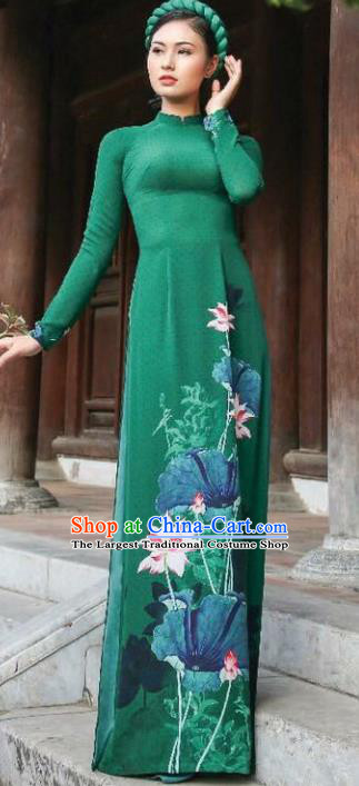 Asian Vietnam Traditional Printing Lotus Deep Green Dress Vietnamese Classical Ao Dai Cheongsam for Women