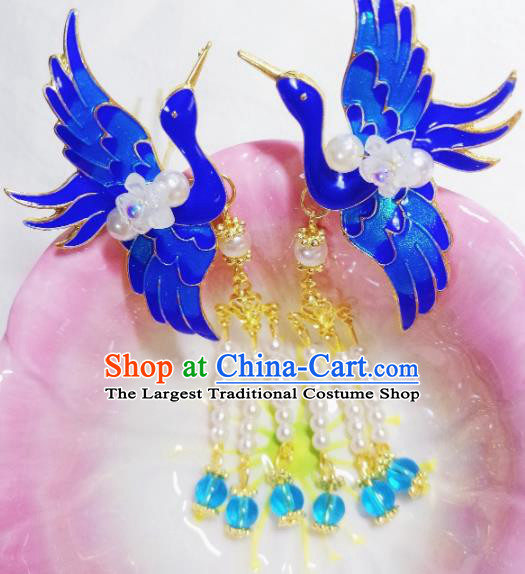 Chinese Ancient Princess Hairpins Palace Blueing Crane Tassel Hair Claws Traditional Hanfu Hair Accessories for Women