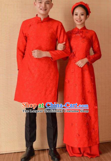 Asian Vietnam Traditional Wedding Red Costumes Vietnamese National Bride and Bridegroom Ao Dai Cheongsam Complete Set