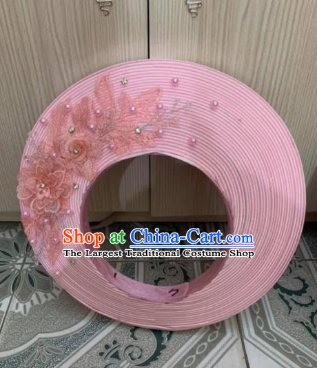 Asian Vietnam Traditional Wedding Pink Hat Vietnamese National Bride Hair Clasp Headwear for Women