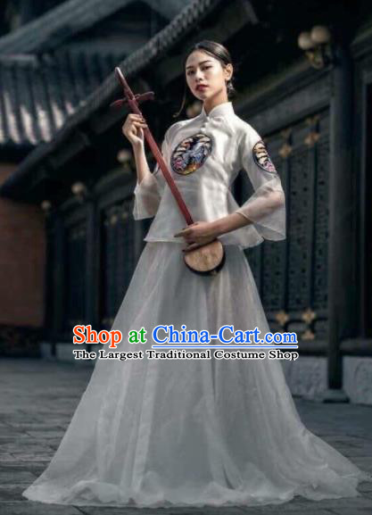 Asian Vietnam Traditional Wedding White Dress Vietnamese National Classical Ao Dai Cheongsam for Women